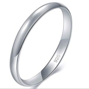 Jewelry - 925 Sterling Silver Ring 2mm wedding band Unisex